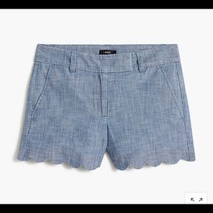 NWT J Crew Chambray scalloped shorts
